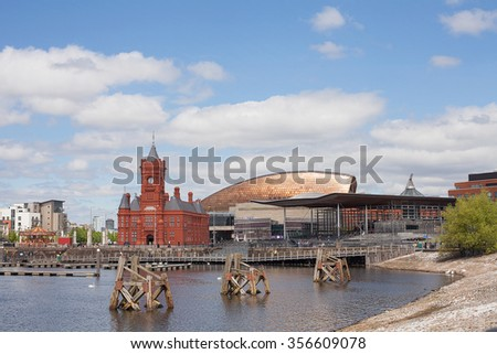 Cardiff, Wales-May 22, 2013. Cardiff Bay (Welsh: Bae Caerdydd) is the area created by the Cardiff Barrage in South Cardiff, the capital of Wales. - stock photo