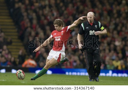 CARDIFF, WALES. 28 NOVEMBER 2009.  Leigh Halfpenny of Wales kicking a penalty while playing in the Invesco Perpetual International Rugby Union match between Wales and Australia - stock photo
