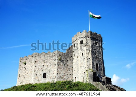 Cardiff, Wales, UK, August 31, 2016 : Cardiff Castle in Castle Street is a 12th century ruin which is one of the cities most popular visitor attractions