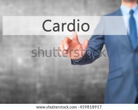 Cardio - Businessman press on digital screen. Business,  internet concept. Stock Photo