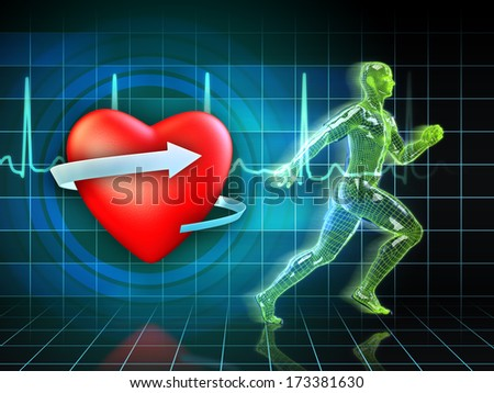 Cardio exercise increases the heart's health. Digital illustration. - stock photo