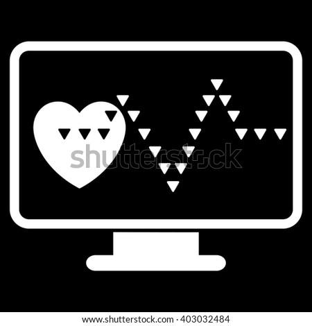 Cardio Monitoring raster icon. Cardio Monitoring icon symbol. Cardio Monitoring icon image. Cardio Monitoring icon picture. Cardio Monitoring pictogram. Flat white cardio monitoring icon. - stock photo