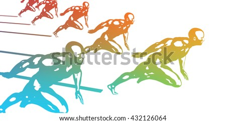 Cardio Workout with Athletes Running Fast Abstract 3D Illustration Render