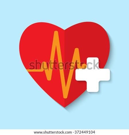 cardiogram or heart rhythm medical icon - stock photo