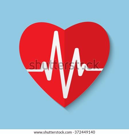 cardiogram or heart rhythm medical icon illustration - stock photo