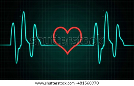 Cardiogram, pulse line with heart shape