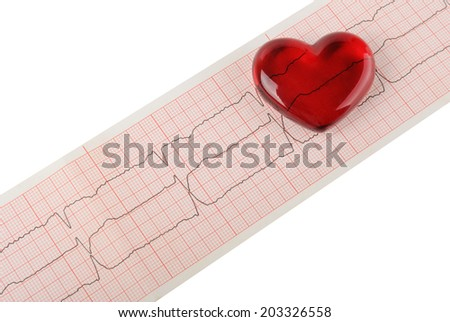 Cardiogram pulse trace and heart concept for cardiovascular medical exam - stock photo