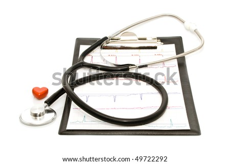 cardiogram with stethoscope and heart on a white background for your illustrations - stock photo