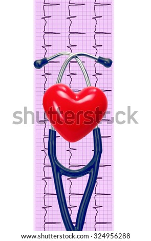 Cardiogram with stethoscope and heart on white background - stock photo