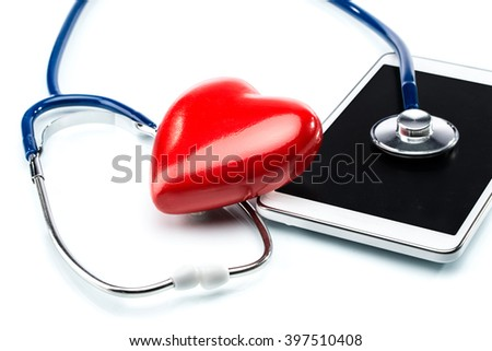 Cardiologist, stethoscope ,heart shape and Digital Tablet