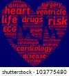 cardiology wordcloud pictogram with red words on a blue background / cardiology symbol word cloud - stock photo