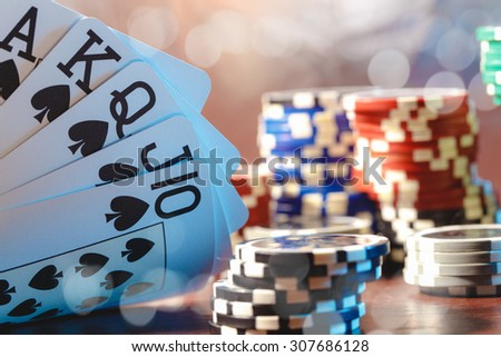 Cards and chips for poker - stock photo