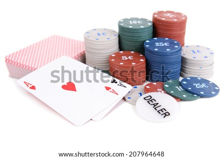 Cards and chips for poker isolated on white - stock photo