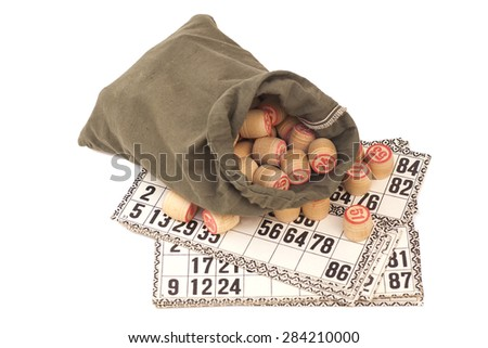 Cards and kegs for Russian lotto (bingo game) isolated on white background  - stock photo