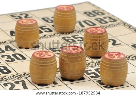Cards and kegs for Russian lotto (bingo game). Macro shooting - stock photo