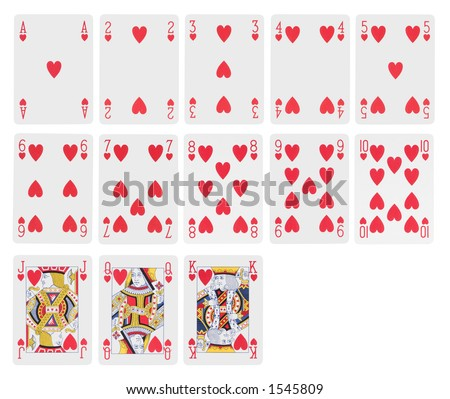 Cards - complete range of hearts - stock photo