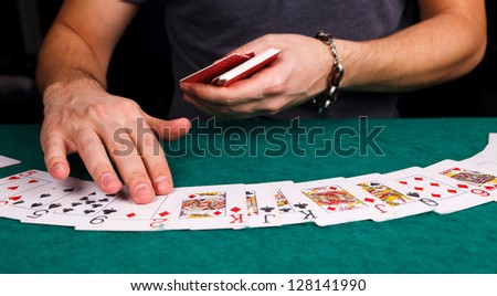 Cards for poker on table