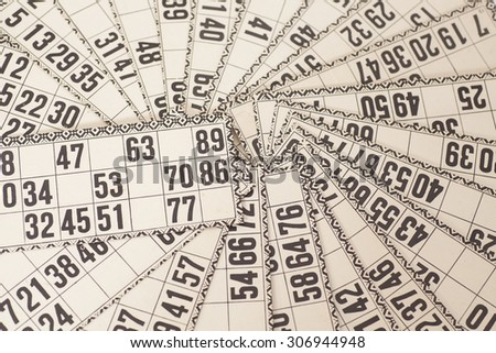 Cards for Russian lotto (bingo game) close up - stock photo