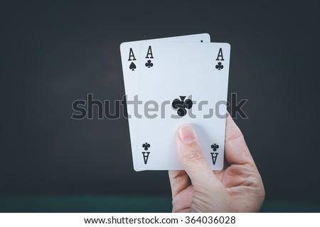 cards, gambling, hand - stock photo