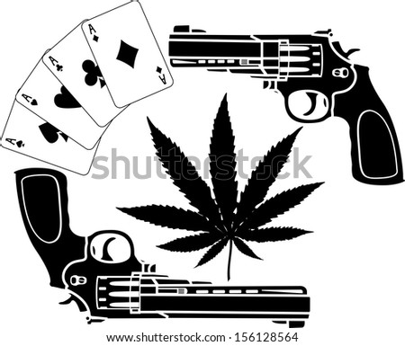 Cards Hemp And Two Pistols Stencil Raster Version