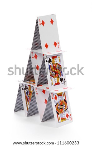 cards house on white background