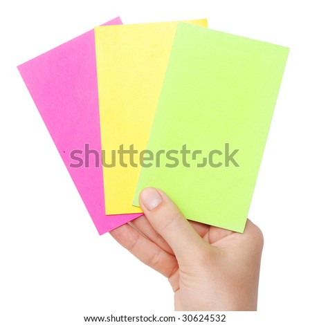 cards in a hand isolated on a white