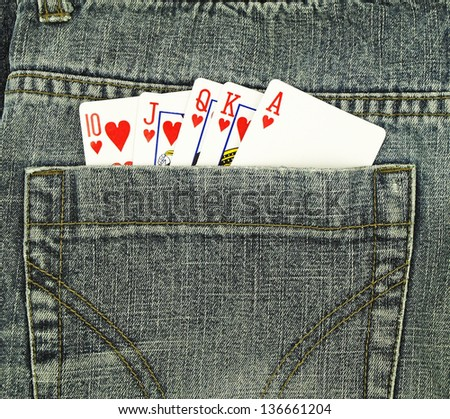 Cards in pocket - stock photo