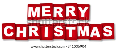 "Cards ""Merry Christmas"" isolated over white background"