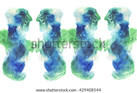 Cards of rorschach inkblot test. The reflection in the mirror. Watercolor picture. Abstract background. Colorful image. Blue and green paint. - stock photo