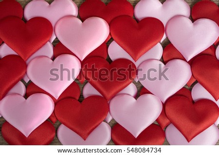 cards on the wooden background, A card decorated with ribbons, Valentine's Day