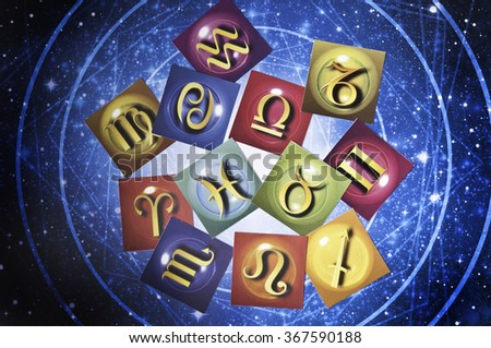cards with astrology signs  - stock photo
