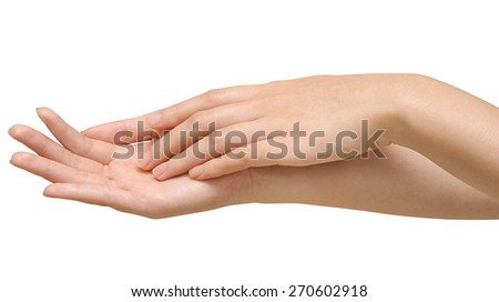 care for beautiful woman hands is on white backgroud - stock photo