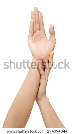care for beautiful woman hands is on white backgroud with clipping path - stock photo