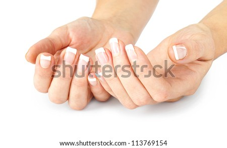 care for sensuality woman nails isolated