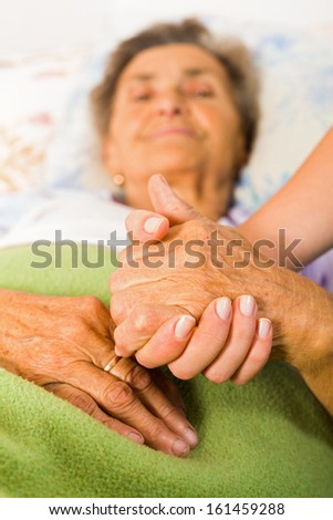 Care help love and trust to elderly people - holding hands. - stock photo