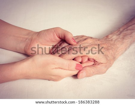 Care is at home of elderly. Elderly man, hands. Space for text  - stock photo
