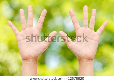 Care nature concept,Hands on the background of natural beauty. - stock photo