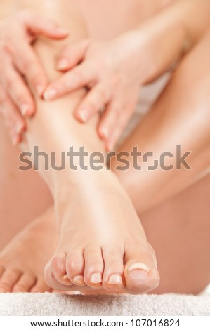 Care of women's legs - stock photo