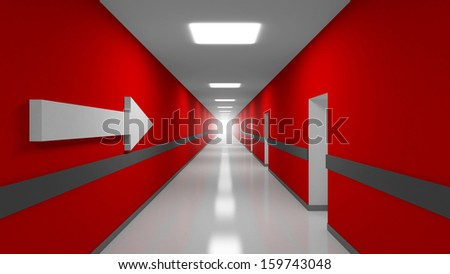 Career abstract 3d metaphor illustration. Red office corridor interior with white arrow - stock photo