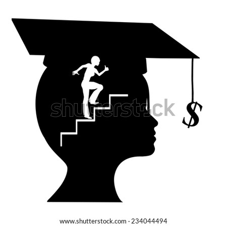 Career after Graduation. Young graduate with a clear conception of her career objectives and occupational expectation - stock photo