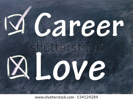 career and love choice - stock photo