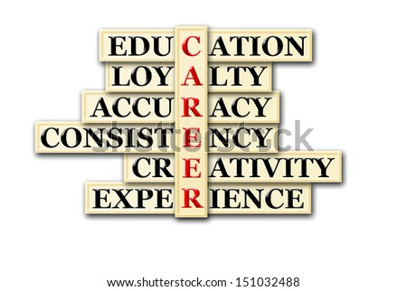 Career and other related words in acronym , handwritten in crossword on green blackboard - stock photo