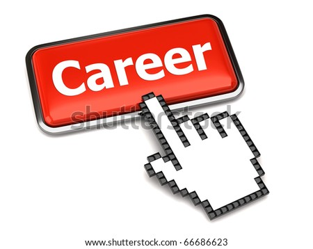 Career button and hand cursor - stock photo