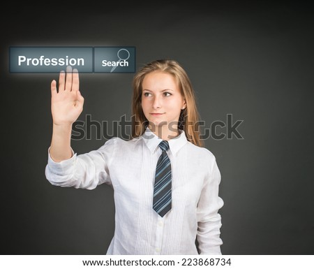 Career choice options - student thinking of future education. School girl chooses future career. Young woman near virtual interface pushing word Profession written in search bar on virtual screen.  - stock photo
