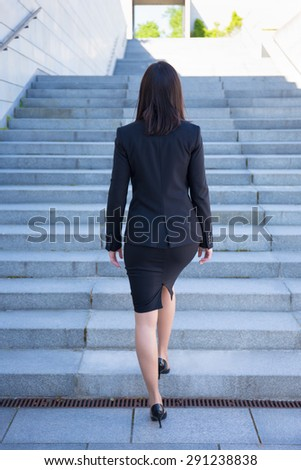 career concept - back view of young business woman on stairs - stock photo