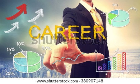 Career concept with businessman and graphs and arrows - stock photo