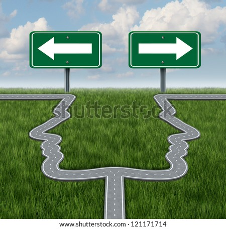 Career decision at a cross roads with a fork in the road shaped as two human heads in a concept of a job dilemma choosing the direction to go when facing two equal or similar business options.