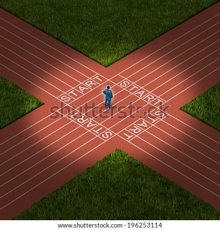 Career decision business strategy concept as a businessman standing on a track and field that has multiple paths as a metaphor for uncertainty and financial direction choices. - stock photo