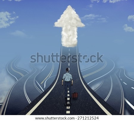 Career development business concept. Business man standing in front of many tangled roads with one highway leading up to arrow cloud as metaphor for leadership. - stock photo