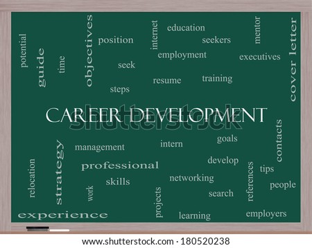 Career Development Word Cloud Concept on a Blackboard with great terms such as goals, resume, mentor and more. - stock photo